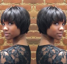 African US cropped bob hairstyle