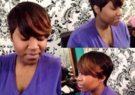 African United states quick hairstyle with highlighted bangs