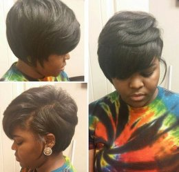 African US short layered bob haircut