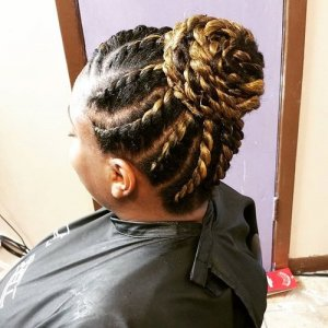 black and blonde bun from level twists