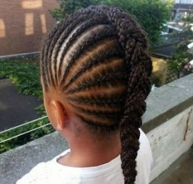 black woman's braided Mohawk