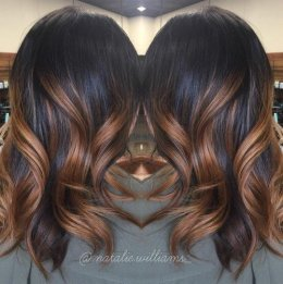 black tresses with caramel ombre shows