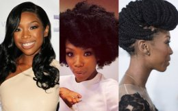 Brandy Norwood right all-natural curly hair