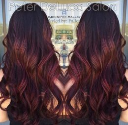 burgundy ombre shows for dark brown tresses