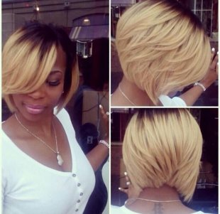 dark to blonde ombre bob hairstyle for black colored females with thick tresses