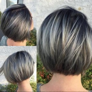 Gorgeous Gray Short Bob Haircut with directly Hair - Balayage brief Hairstyles for Women and Girls