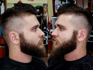 high fade with complete beard