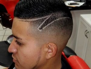 high fade with shaven outlines