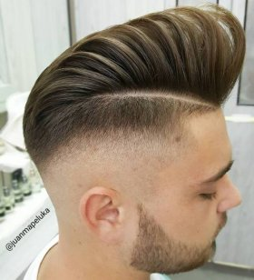 High vibrant Pompadour with Faded edges