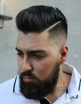 high shiny pompadour with shaved part components