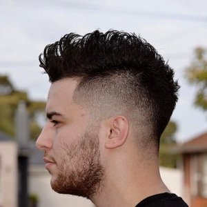 Mohawk with side fade for males