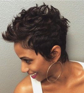 short curly black colored hairstyle