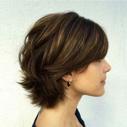 brief layered haircut for thick tresses