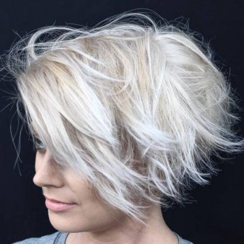quick messy ash blond bob