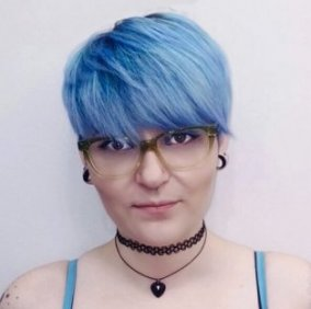 short pastel blue hairstyle
