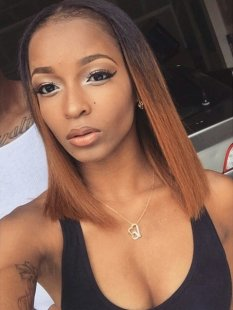 brief straight blunt ombre lob hairstyle for black females