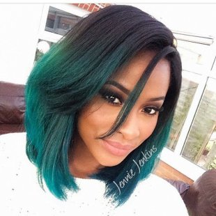 trendy medium ombre bob haircut for dense tresses for black colored females